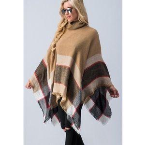 Sweaters - ✨SALE!✨5⭐️NEW TAN CAMEL PLAID PONCHO WRAP CAPE TOP